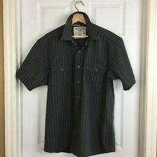 Canyon River Blues 1987 Mens Shirt Sz L 42-44 Gray Stripe SS Snap Front Pockets