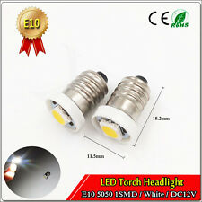 1PCS E10 Screw Led Bulb Light Lamp DC 12V Cold White 5050 1 SMD LED Torch Light