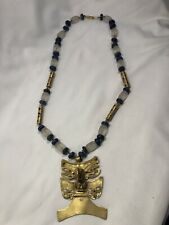 BEAUTIFUL GLASS AND LAPIS NECKLACE WITH BIRD GOD WITH CHARM