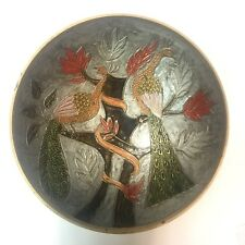 "Vintage 7.5"" Enameled Brass Bowl Peacocks Muted Earthtone Colors"
