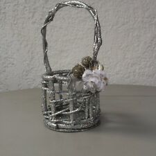 2 - Small Decorative Glistening Silver Wicker Baskets with Handle