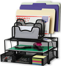 SimpleHouseware Mesh Desk Organizer with Sliding Drawer, Double Tray and 5 Black