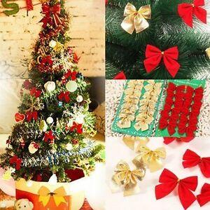 24X Schleifen Weihnachtsbaum Deko 6cm Xmas Geschenk Gold Silber Rot