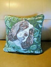 "Vtg Cocker Spaniel Dog Needlepoint Pillow 14""x14"" Wool  Velvet"
