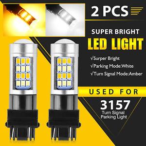 2X Error Free White/Amber 3157 LED DRL Switchback Turn Signal Parking Light Bulb