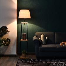 HOMCOM Tripod Floor Lamp w/ 3-Tier Shelves Foot Switch E27 Lampshade Base