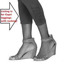 NEW QVC Logo Lori Goldstein Size 2/4 X-Small CAPRI LEGGINGS Ruched Crop Ankle