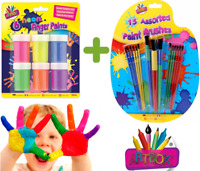 6 Pots Of Neon Finger Paints - Non Toxic Painting Children Crafts Poster Art Set