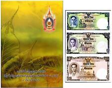THAILAND 1 5 10 BAHT 80 YRS ND 2007 P 117 COMM. UNCUT UNC WITH FOLDER