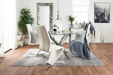 VENICE Chrome Round Glass Dining Table And 4 Black White Grey Dining Chairs