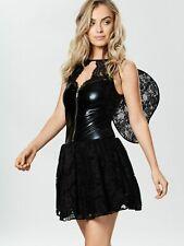 Ann Summers Womens Black Fallen Angel PVC Lace Fancy Dress Costume & Wings Small