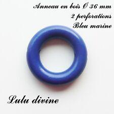 Anneau en bois de 36 mm (XS) avec trous, pour hochet bébé : Bleu marine