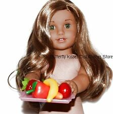 5 Healthy Fruits & Veggies On Pink Tray 18 in Doll Food For American Girl Doll