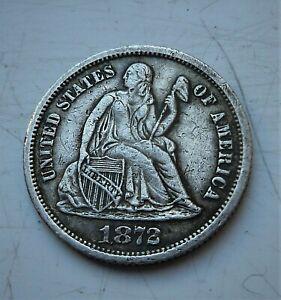 1872 USA SILVER DIME. LOVELY COIN