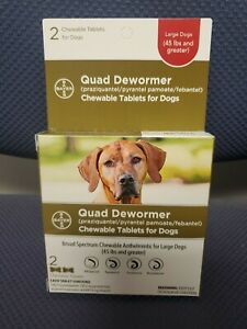 Bayer Quad Dewormer for Large Dogs 45lbs and Over 2 Chewable Tablets 1 Boxes