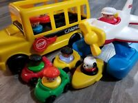 Vintage Fisher Price Chunky Little People School Bus Airplane Cars Figures Lot