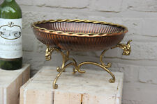 French vintage Brass Copper Dragon paws centerpiece fruit bowl table