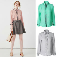 Fashion Women Girl Chiffon Long Sleeve Career Shirt Fitted Button Up Blouse Tops