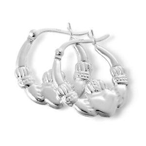 925 Sterling Silver Irish Claddagh 17mm Hoop Creole Earrings Love Ireland Hoops