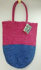 """""""Roxy""""  Pink And Blue, Snap Closure, Pink Fabric Lined Straw Bag. NWT"""