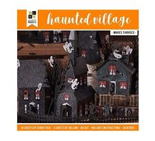 DCWV Black Glitter Haunted House Village Happy Halloween Party Decor Paper Kit