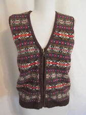 Erika Classics Brown Nordic zipped cotton blend sweater vest Misses M * Nice