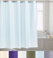 "Fabric Shower Curtain Waffle Weave Hookless With Snap Off Liner 70""x75"""