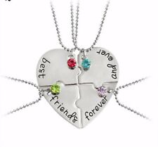 BFF Necklace Heart Best Friend Necklaces Pendant Friendship Jewelry Charm - 4pcs