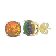 Black Opal 8mm Round Stud Earrings 14Kt Yellow Gold
