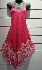 Dress Fits M L XL Sundress Pink Batik Art  Tunic A Shape Rayon Sequins NWT 751