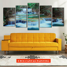 5PCS 1.4m Framed Forest Waterfall Canvas Print Painting Picture Poster Home Gift