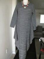 HEYDARI  GRAY LONG DRESS Sz SMALL LONG SLEEVES