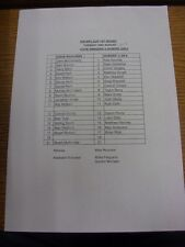 08/08/2016 Teamsheet: Cove Rangers v Dundee U20's [Iron Bru Cup 1st Round]. Foot
