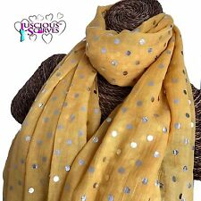 280752ab2 SUNSHINE YELLOW SCARF WITH SILVER FOIL DOTS SPOTS LADIES SUPERB SOFT QUALITY