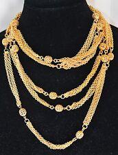 22K Gold Plate Vintage Necklace Sautoir Multi Rows Ball No Stone BELT Waist