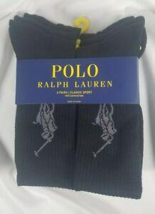Polo Ralph Lauren 6 pairs Classic Sport Crew Socks Black w/ Big Pony SHIPS FREE