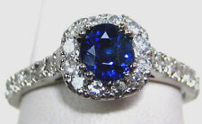 Blue Sapphire Ring Pave Halo Style 14K white gold 1.44ct CERT. FREE App. $4,839