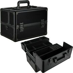 Makeup Cosmetic Train Case Organizer with 3 Extendable Trays and Keylock-VK003