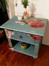 1of a kind blue & floral 1Drawer Bedside Table Night Stand w/ Storage underneath