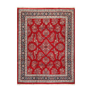 9' x 11'7'' Hand Knotted 100% Wool Saroukk 200 KPSI Oriental Area Rug Red