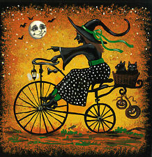 8x8 PRINT OF PAINTING RYTA FOLK HALLOWEEN BLACK CAT WITCH BICYCLE VINTAGE STYLE