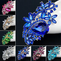 Bridal Large Rhinestone Crystal Diamante Brooch Pin Waterdrop Flower Brooch