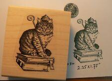 Reading Cat rubber stamp WM P34