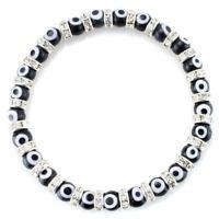 Turkish Evil Eye Murano Glass Crystal Spacer Bracelet