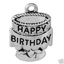 2 tibetan silver happy birthday cake charms pendants