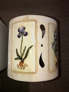 "NIB NOS Waxcessories Botanical Garden Large Pillar Candle Jar Holder 5"" T"