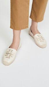 NIB Tory Burch Ines Flat Leather Logo Espadrilles Shoes 11 New Cream Gold