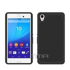 Sony Xperia M4 Aqua Heavy Duty Dual Layer Impact Hybrid Case Cover - Black