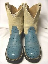 Ariat Womens Cowboy Boots   Size 8 B  Turquoise Faux Ostrich   #135 HB%