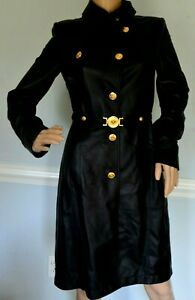 VERSACE Leather Medusa Logo Belted Black Gold Dress Jacket Coat US 2 4 / IT 38